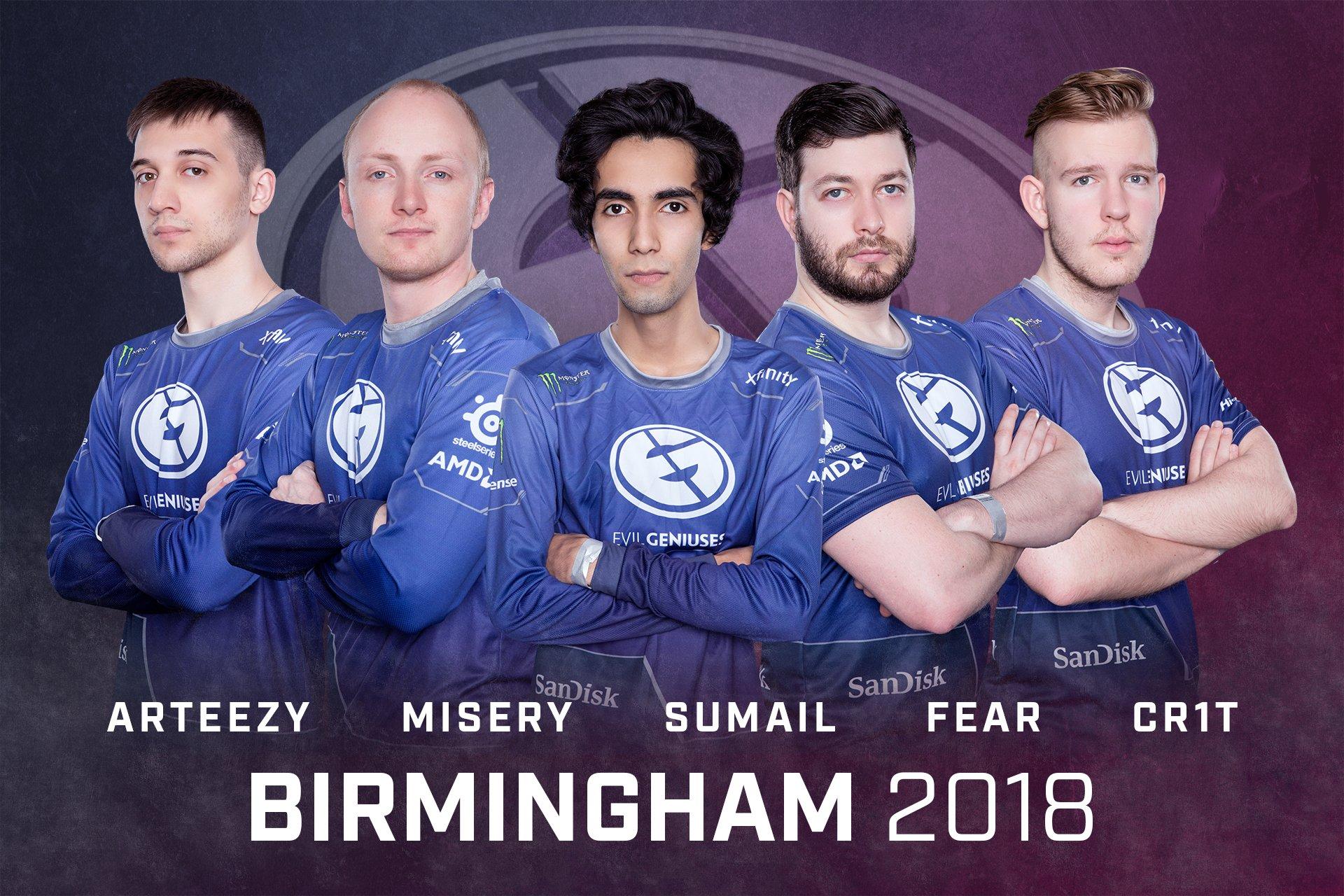 La formación de EG. De izquierda a derecha: Arteezy, Misery, Sumail, Fear y Cr1t. EG y Newbee afrontan malos resultados en la ESL One Birmingham.