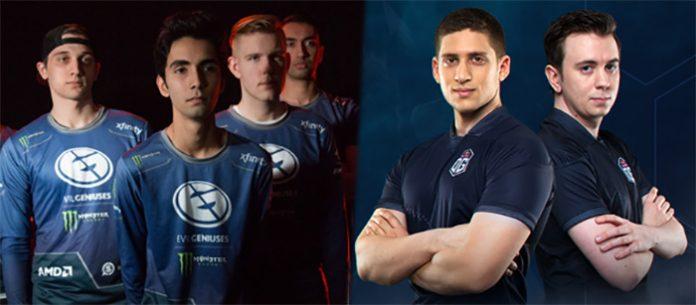 A la izquierda jugadores de la antigua formación de EG (Arteezy, Sumail, Cr1t) y a la derecha Fly y s4, que abandonan OG para formar un equipo galáctico en Evil Geniuses