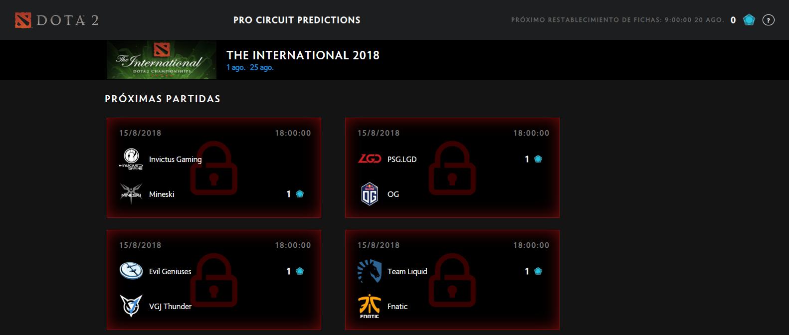 Las predicciones del Circuito Competitivo de Dota 2 suponen otra fuente de niveles de Compendio que puedes conseguir en estas fechas aparte de la Fantasy League del International
