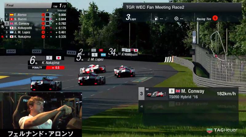 Fernando Alonso liderando frente al resto de sus compañeros de equipo de Toyota Gazoo