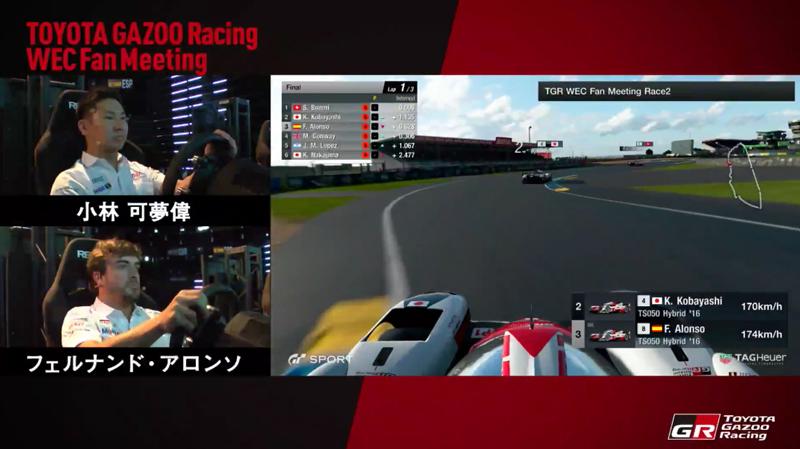 F.Alonso y K.Kobayashi al volante del Gran Turismo Sport