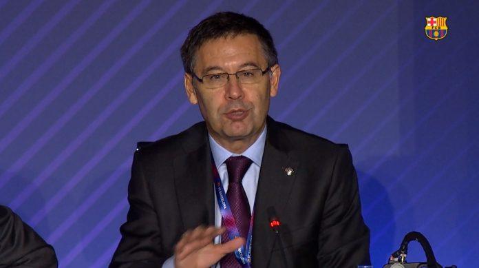 Josep María Bartomeu, hablando de los eSports en la asamblea de socios del F.C.Barcelona