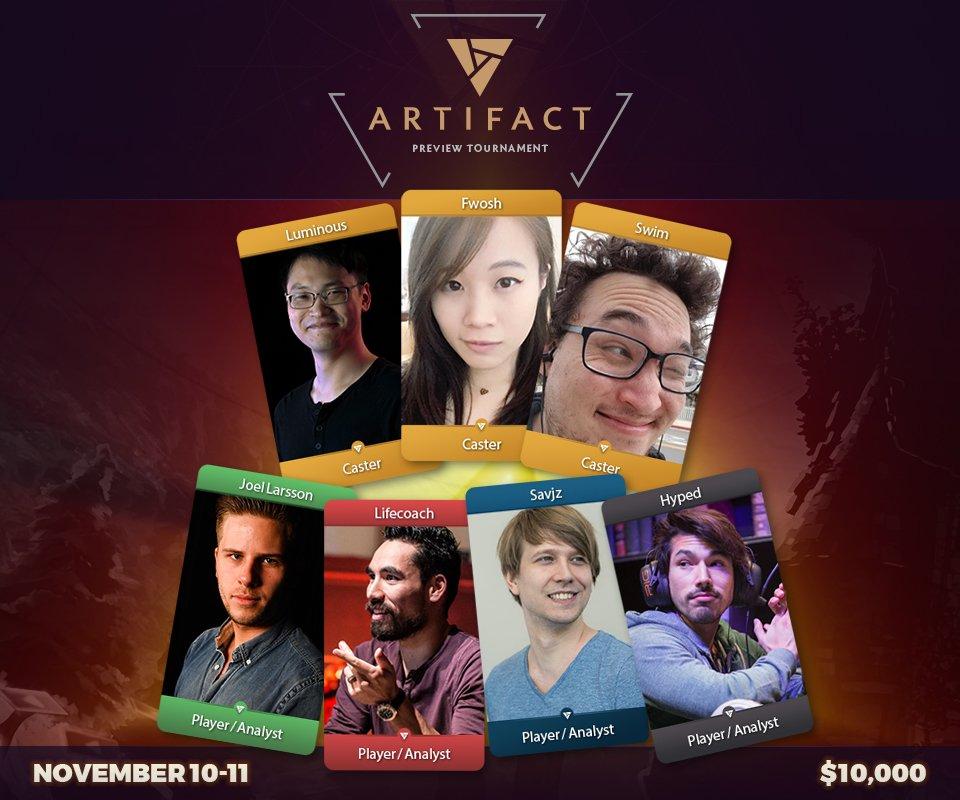Elenco de comentaristas y analistas que presentarán el primer torneo de Artifact de la historia, presentado por Beyond The Summit.