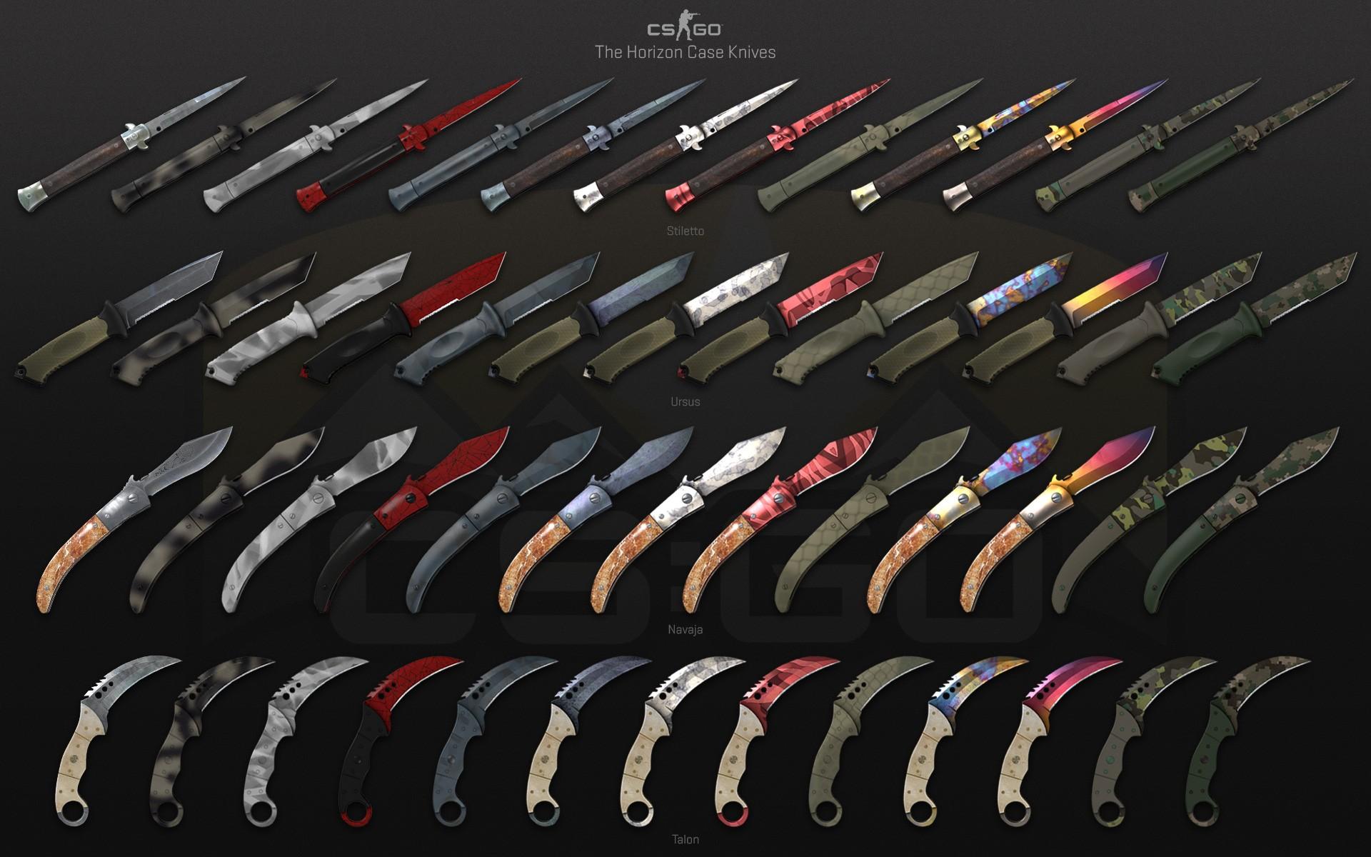 Cuchillos de la caja Horizon, que estarán incluidos como objeto especial en la nueva caja Danger Zone de CS:GO