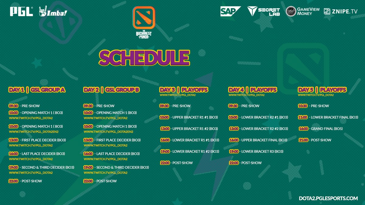 Horario The Bucharest Minor Dota 2
