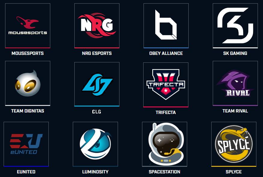 Las 12 organizaciones de la Temporada 5 de la Smite Pro League .