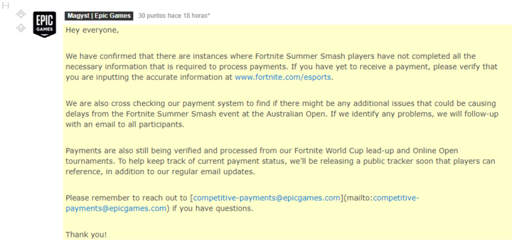 Respuesta de Epic sobre el Fortnite Summer Smash