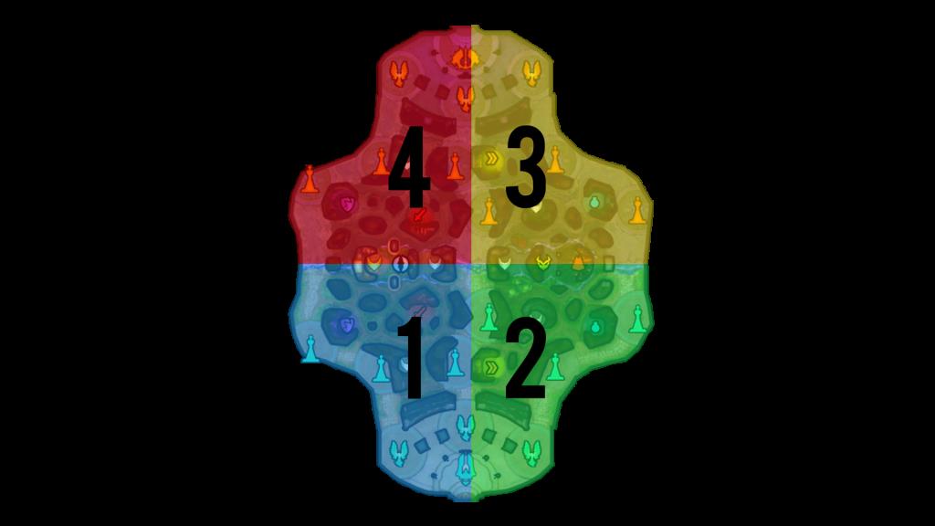 Distribución del mapa por cuadrantes. | Fuente: propia