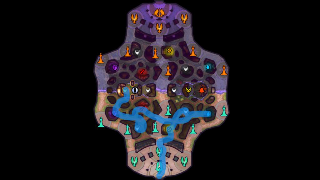 Ejemplo de ruta de jungla defensiva.