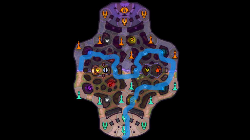 Ejemplo de ruta de jungla ofensiva.