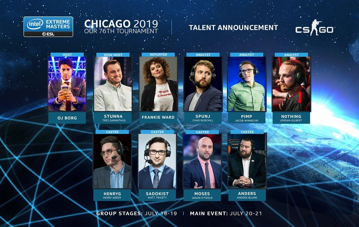 Equipo de casters y analistas de la IEM Chicago