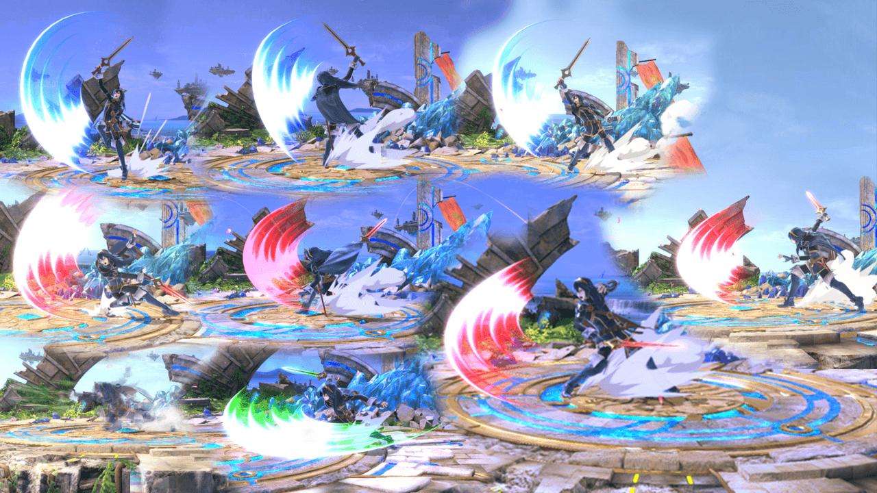 Variaciones del SideB de Lucina en Smash Bros Ultimate.