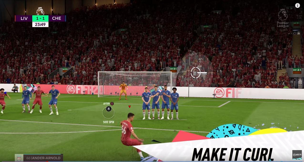 Lanzamiento de falta directa en FIFA 20.