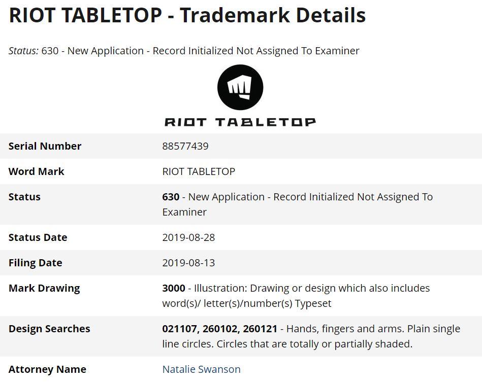 Riot Tabletop apunta a nuevo juego de mesa