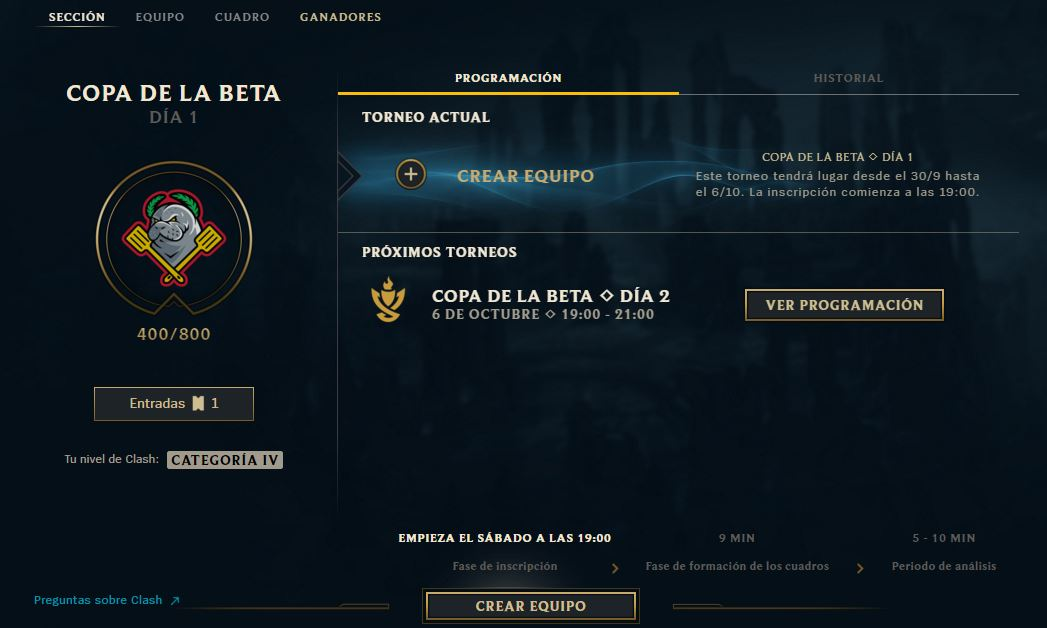 Captura del cliente de League of Legends. Pestaá de Clash.
