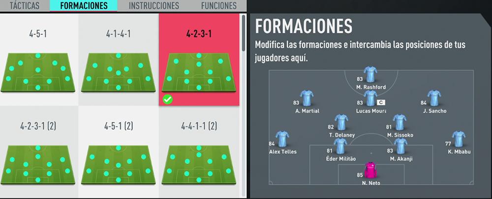 FIFA 20: Formación 4-2-3-1