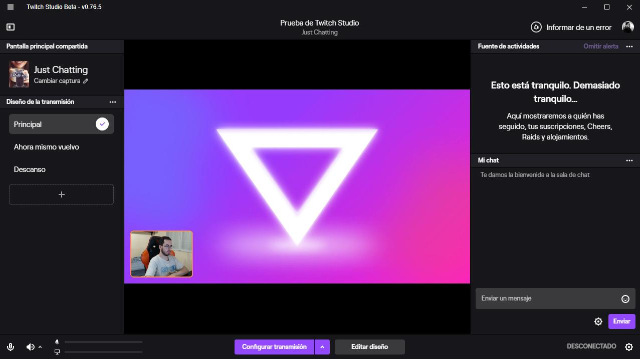 Twitch Studio panel principal