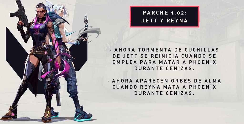 Resumen de los cambios de Jett y Reyna en la versión 1.02
