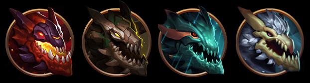 Iconos de los dragones elementales disponibles en League of Legends.