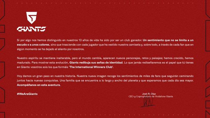 comunicado Vodafone GIants